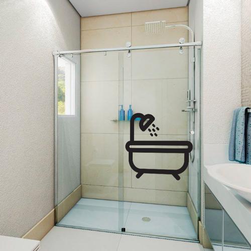 Adesivo de Pastilha  Tons de Preto  Brave Impressões -> Adesivo Banheiro Feminino