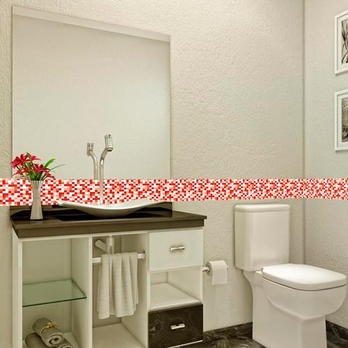 Adesivo de Pastilha  Tons de Vermelho  Brave Impressõ -> Banheiro Adesivo Pastilha