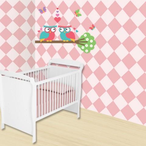 Adesivo decorativo Infantil - Xadrez Rosa Para Quarto de Criança