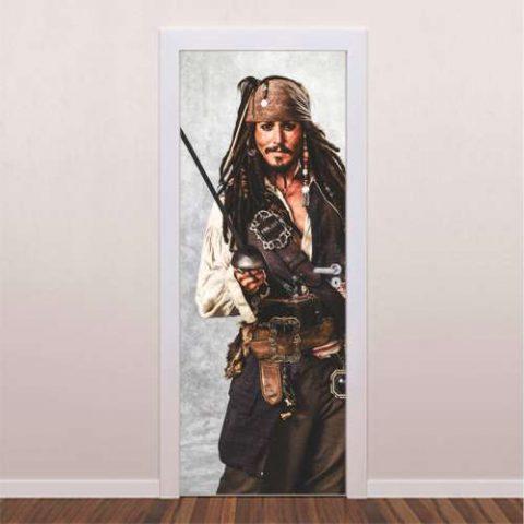 Adesivo decorativo para porta Jack Sparrow