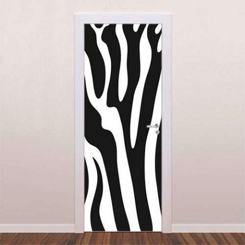 Adesivo decorativo para porta Zebra