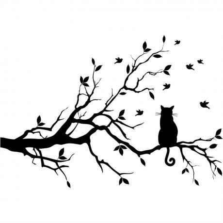 Adesivo de Parede Galhos com Gato