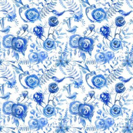 Papel de Parede Floral Aquarela Azul