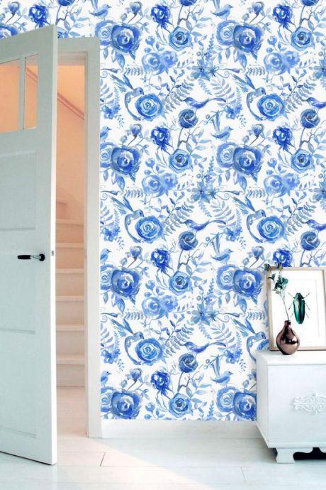 Papel de Parede Floral Aquarela Azul para Quarto