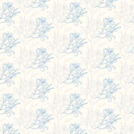 Papel de Parede Floral Azul e Cinza