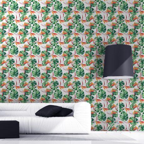 Papel de Parede Floral Folhagem Costela de Adao03