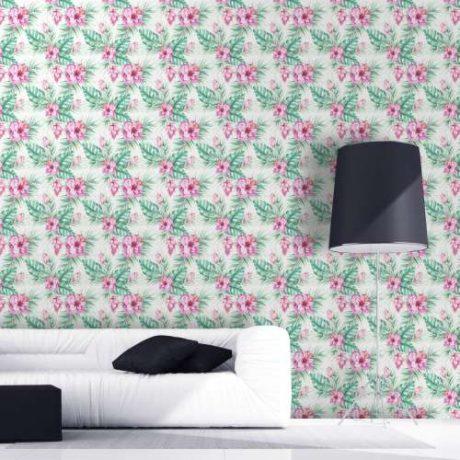 Papel de Parede Floral Hibisco Rosa