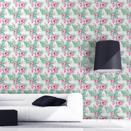 Papel-de-Parede-Floral-Hibisco-Rosa
