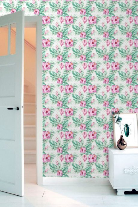 Papel-de-Parede-Floral-Hibisco-Rosa-Quarto