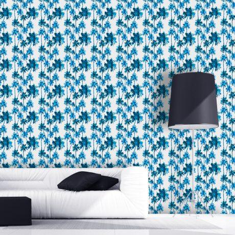 Papel de Parede Palmeiral Estilizada Azul Sala Home