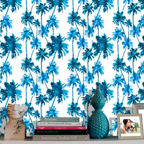 Papel de Parede Palmeiral Estilizada Azul Sala